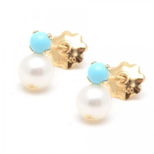 Pendientes Oro Perla Turquesa Azul