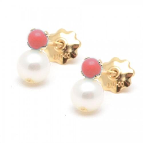 Pendientes Oro Perla Coral Rojo