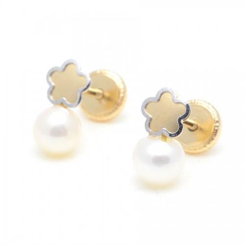 Pendientes Oro Perla Flor
