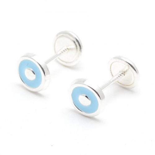 Pendientes Plata Círculo Azul