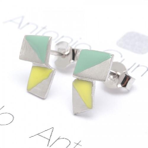 Pendientes Plata Cuadrados Verde Amarillo Joid'Art