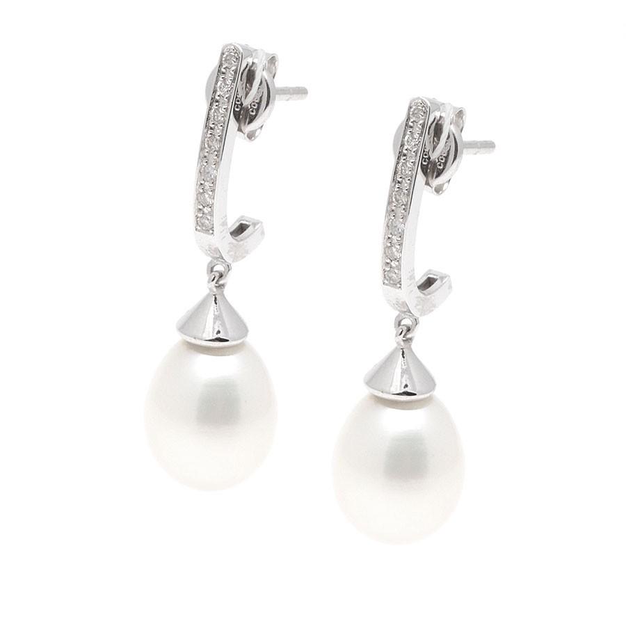 Pendientes Oro Blanco Chica Novia Perla Diamantes