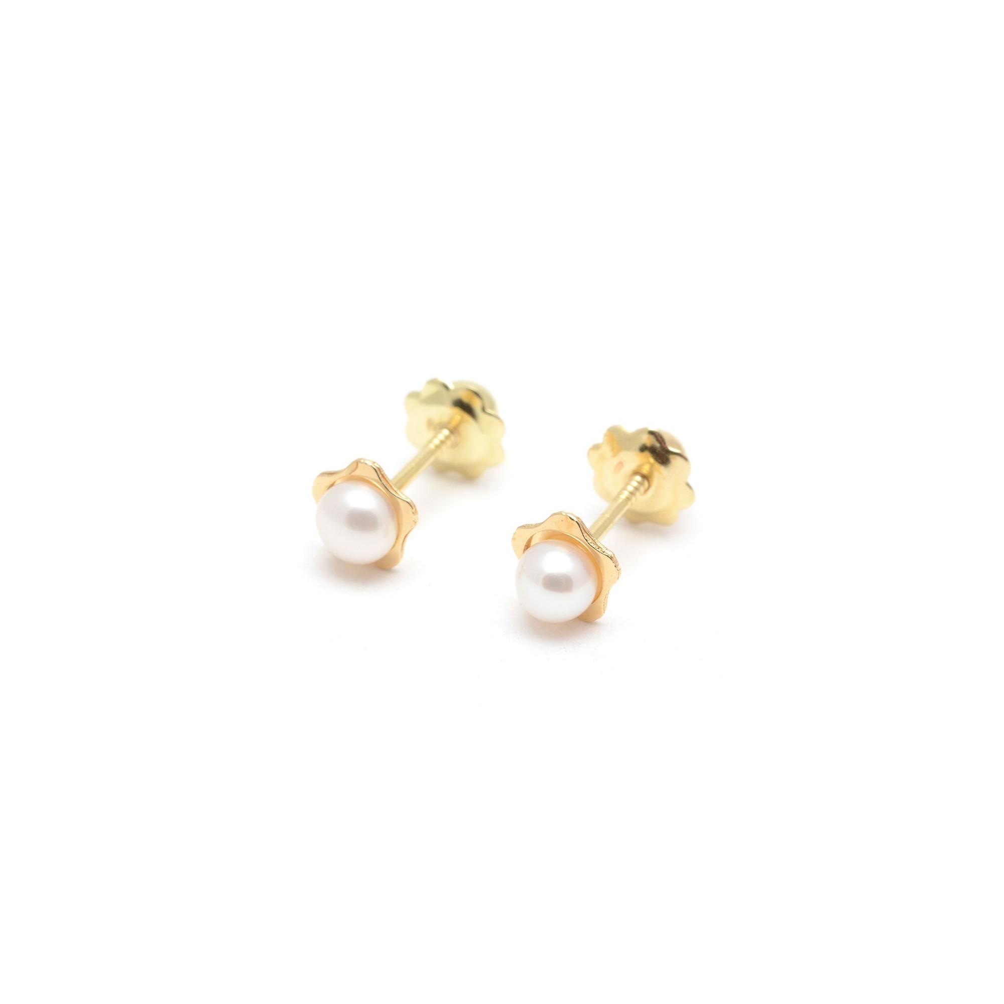 a658e4de12e4 Pendientes Oro Bebé Niña Infantil Flor Perla Blanca