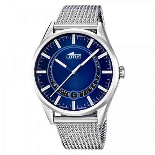 Reloj Lotus Retro Azul Brazalete Malla Acero
