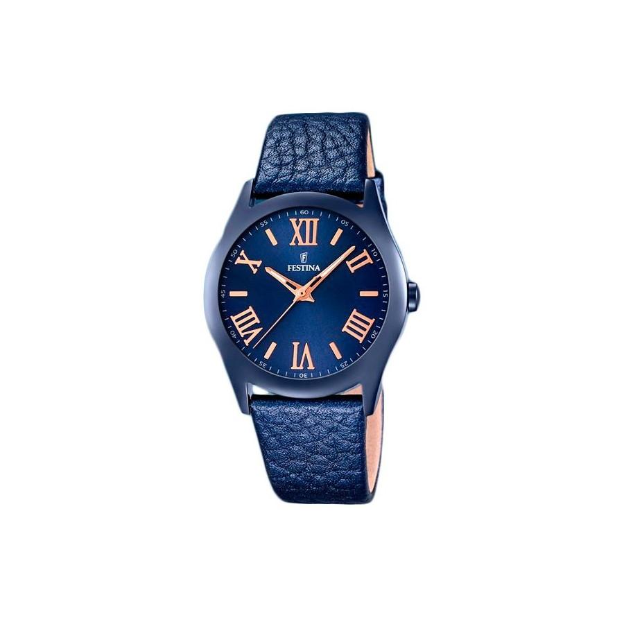 426eb1eedfc1 Reloj Chica Festina Azul Dorado Correa Piel F116649-5