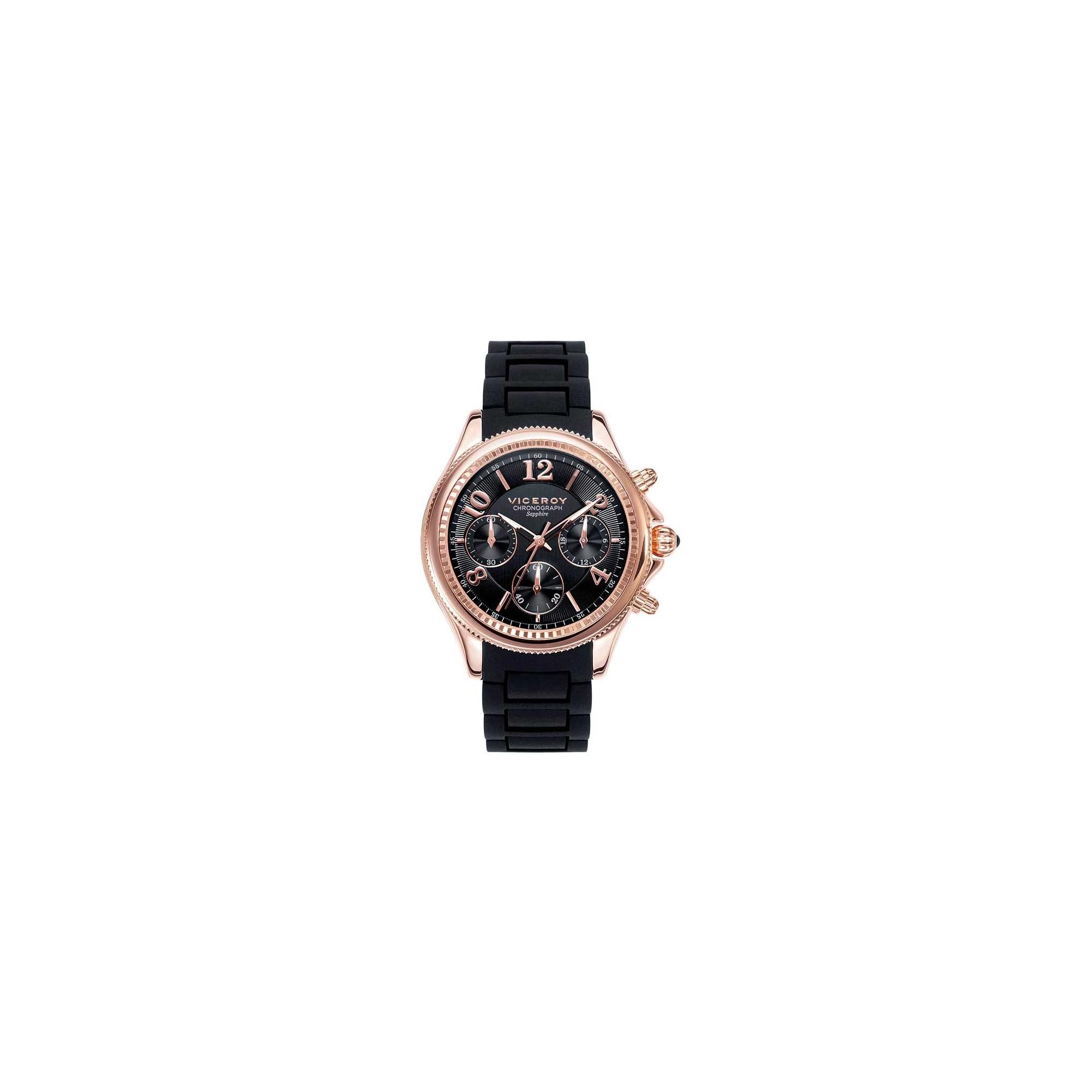 Reloj Chica Viceroy Deportivo Dorado Goma Negra Pen 233 Lope