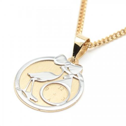 Medalla Oro Bebé Cigüeña Reloj Lazo