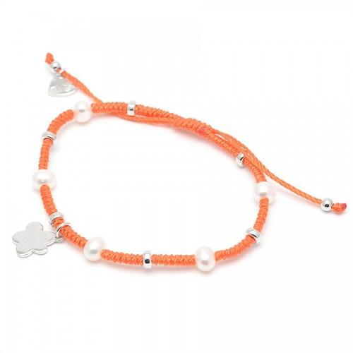 Pulsera Plata Agatha Cordón Naranja Perlas Nube