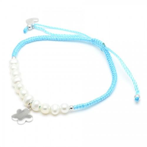 Pulsera Plata Agatha Cordón Azul Perlas Nube
