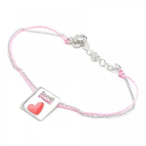 Pulsera Plata Agatha Cordón Rosa Corazón Rojo