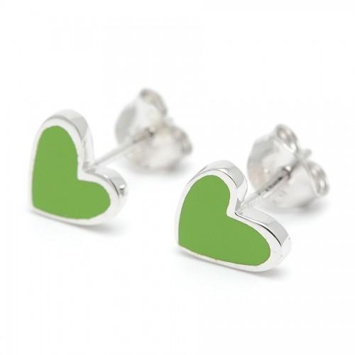 Pendientes Plata Agatha Corazón Verde