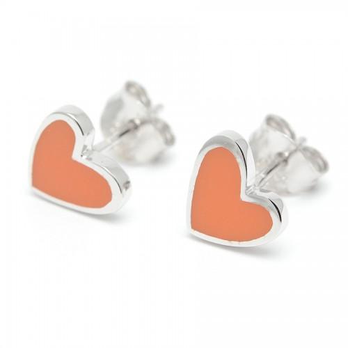 Pendientes Plata Agatha Corazón Naranja