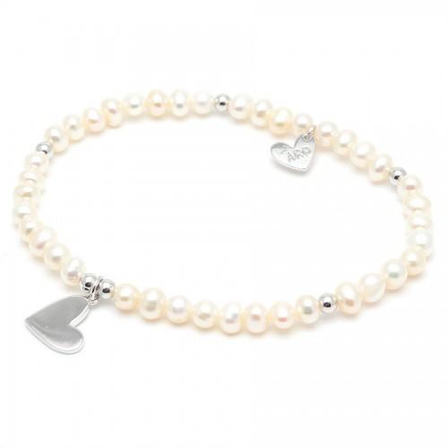 Pulsera Plata Agatha Corazón Perlas Blancas