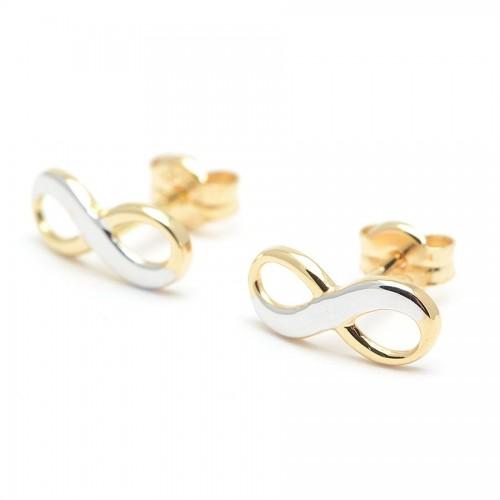 Pendientes Oro Infinity Bicolor