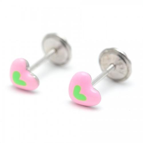 Pendientes Plata Corazón Rosa