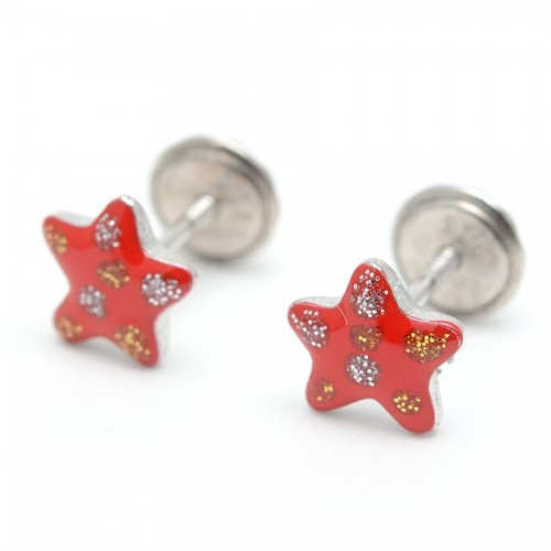 Pendientes Plata Estrella Roja