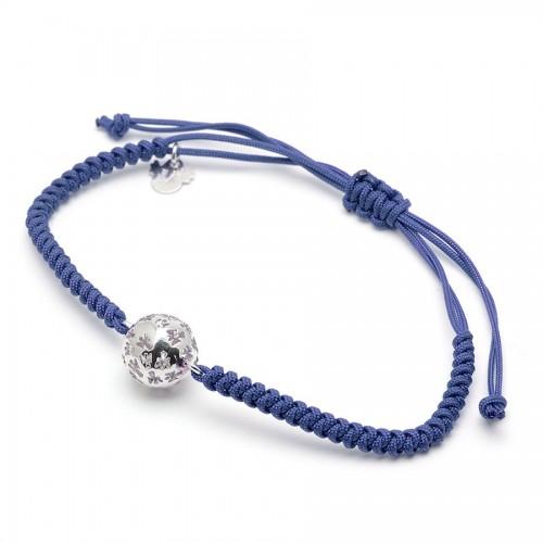 Pulsera Plata Llamador de Angeles Cordón Azul