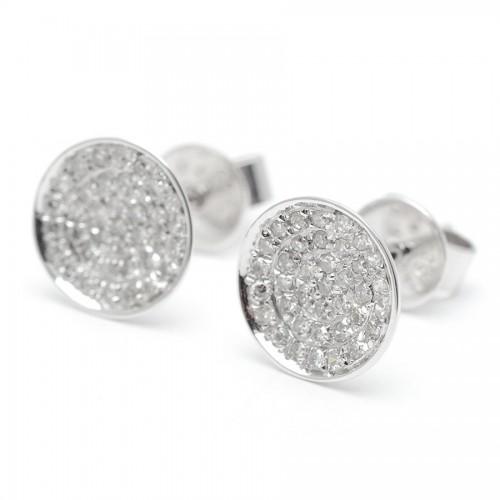 Pendientes Diamantes Oro Blanco Círculo