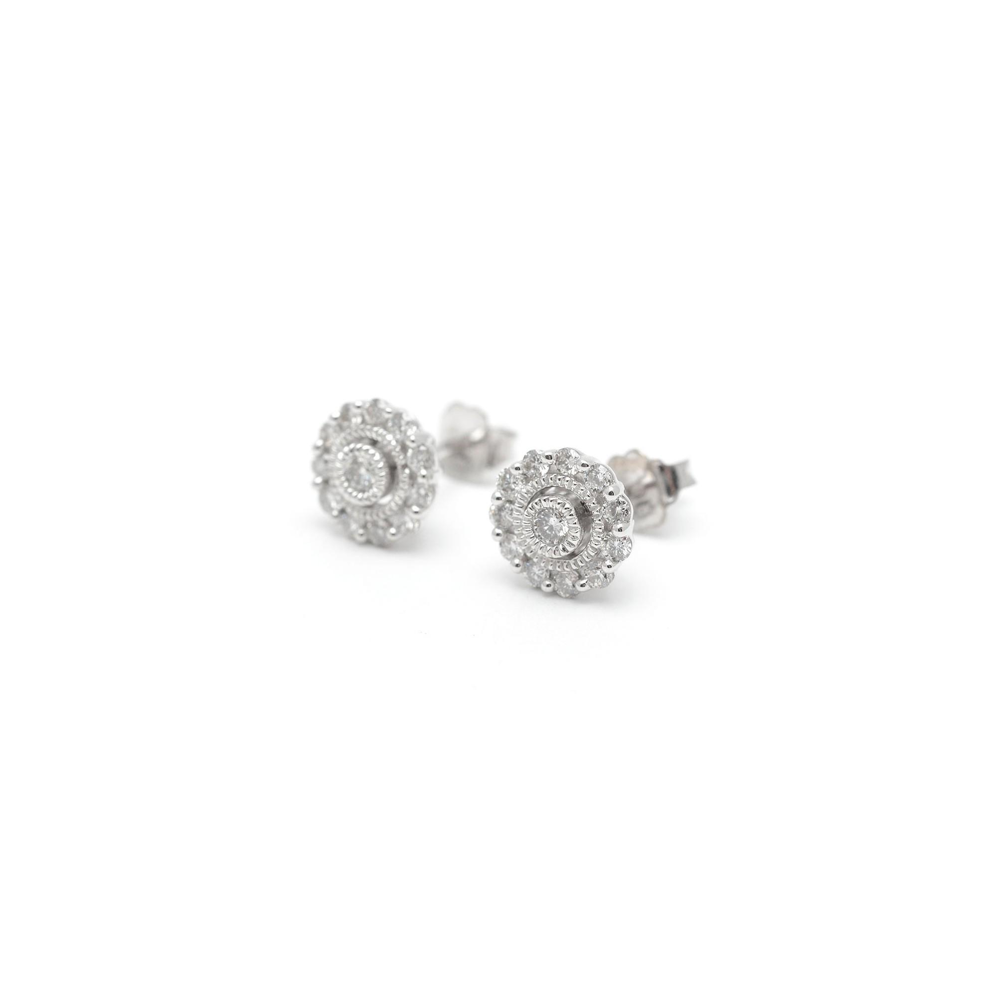 San Francisco fe155 bc6bd Pendientes Oro Blanco Mujer Chica Niña Comunión Rosetón Diamantes