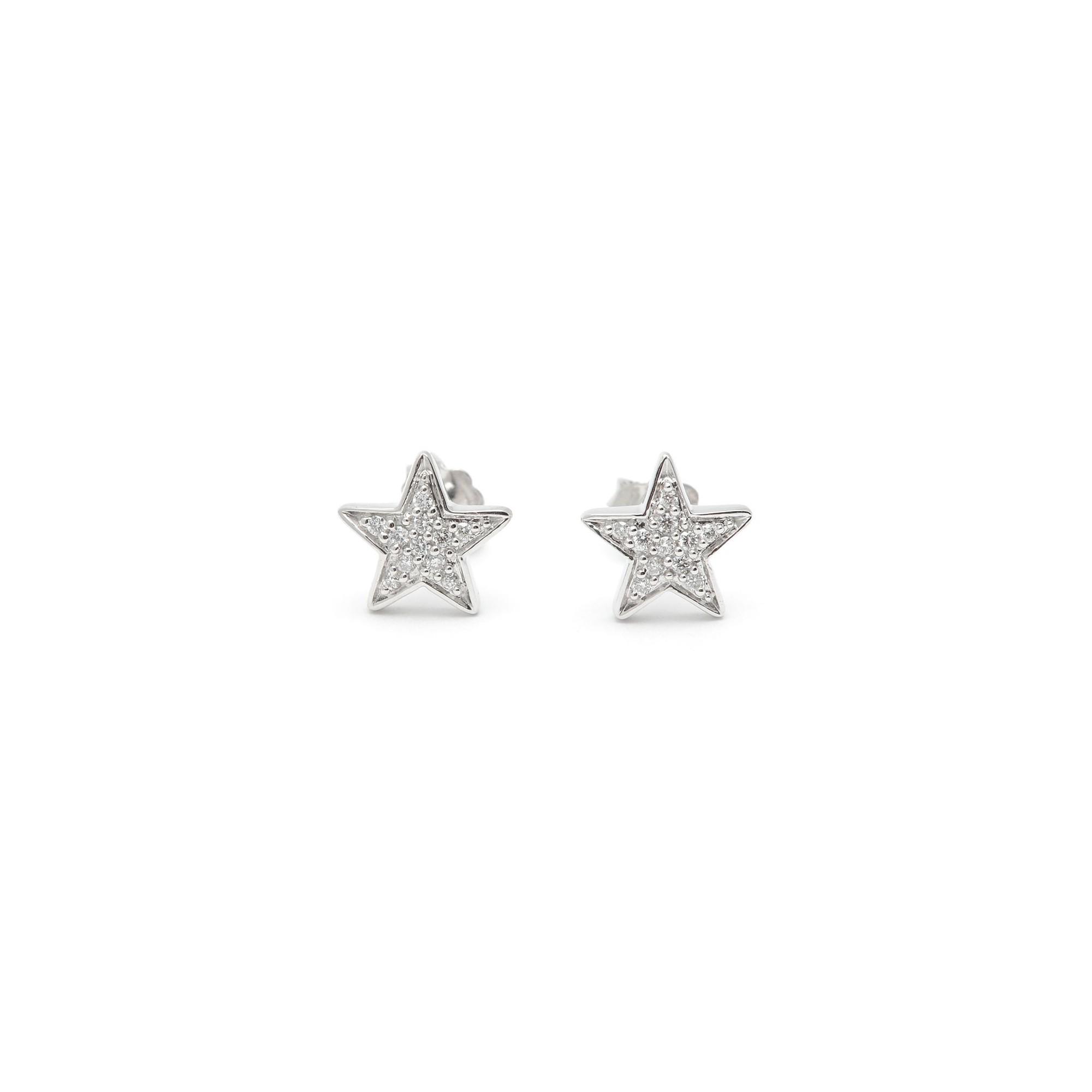 Pendientes Diamantes Oro Blanco Estrella; Pendientes Diamantes Oro Blanco Estrella