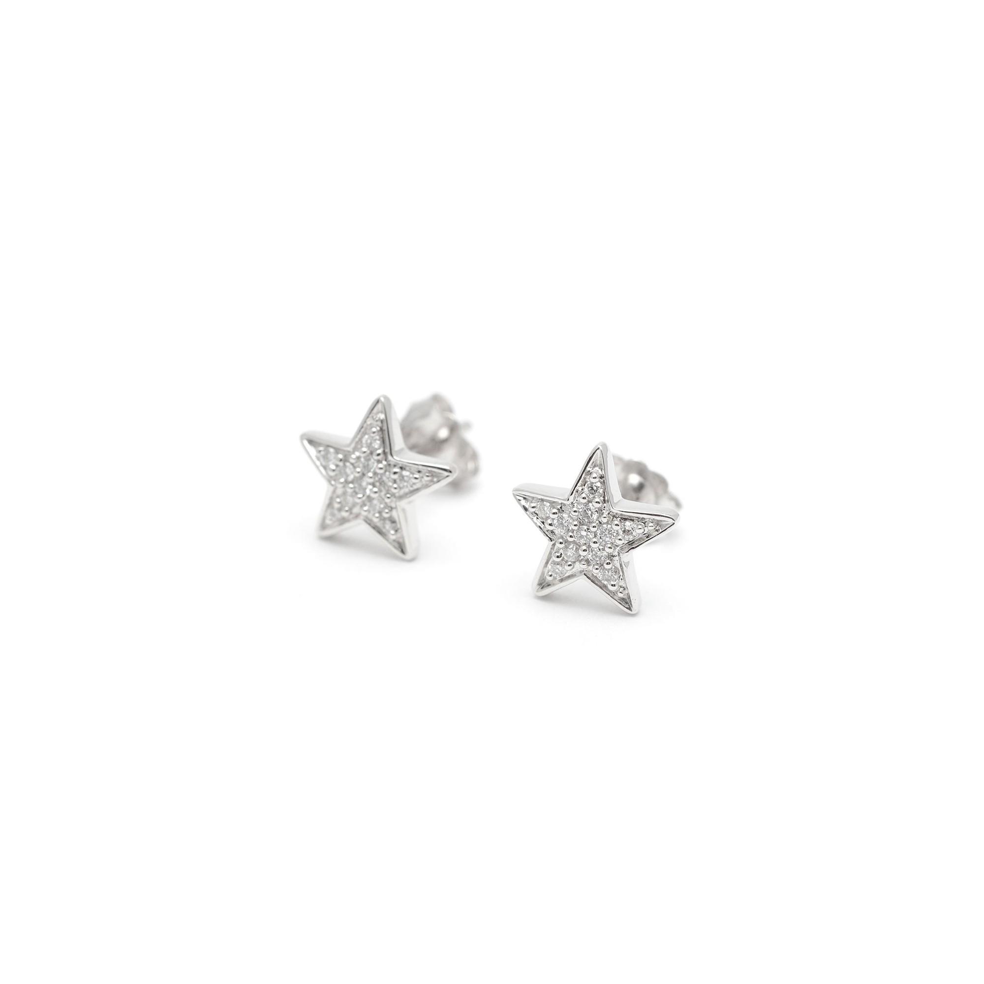 26ed33e4e347 Pendientes Oro Blanco Mujer Chica Niña Comunión Estrella Diamantes