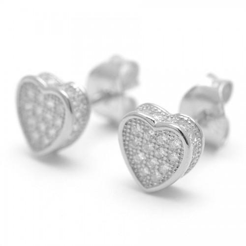 Pendientes Plata Corazón Cristales