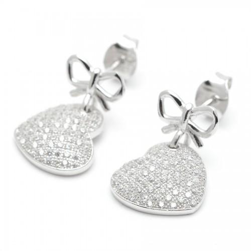 Pendientes Plata Corazón Lazo Cristales