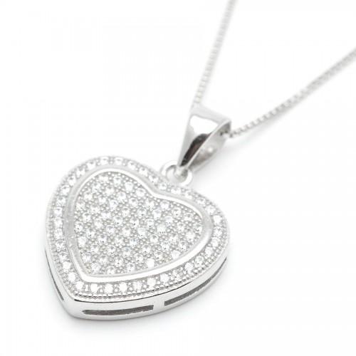 Colgante Plata Corazón Cristales