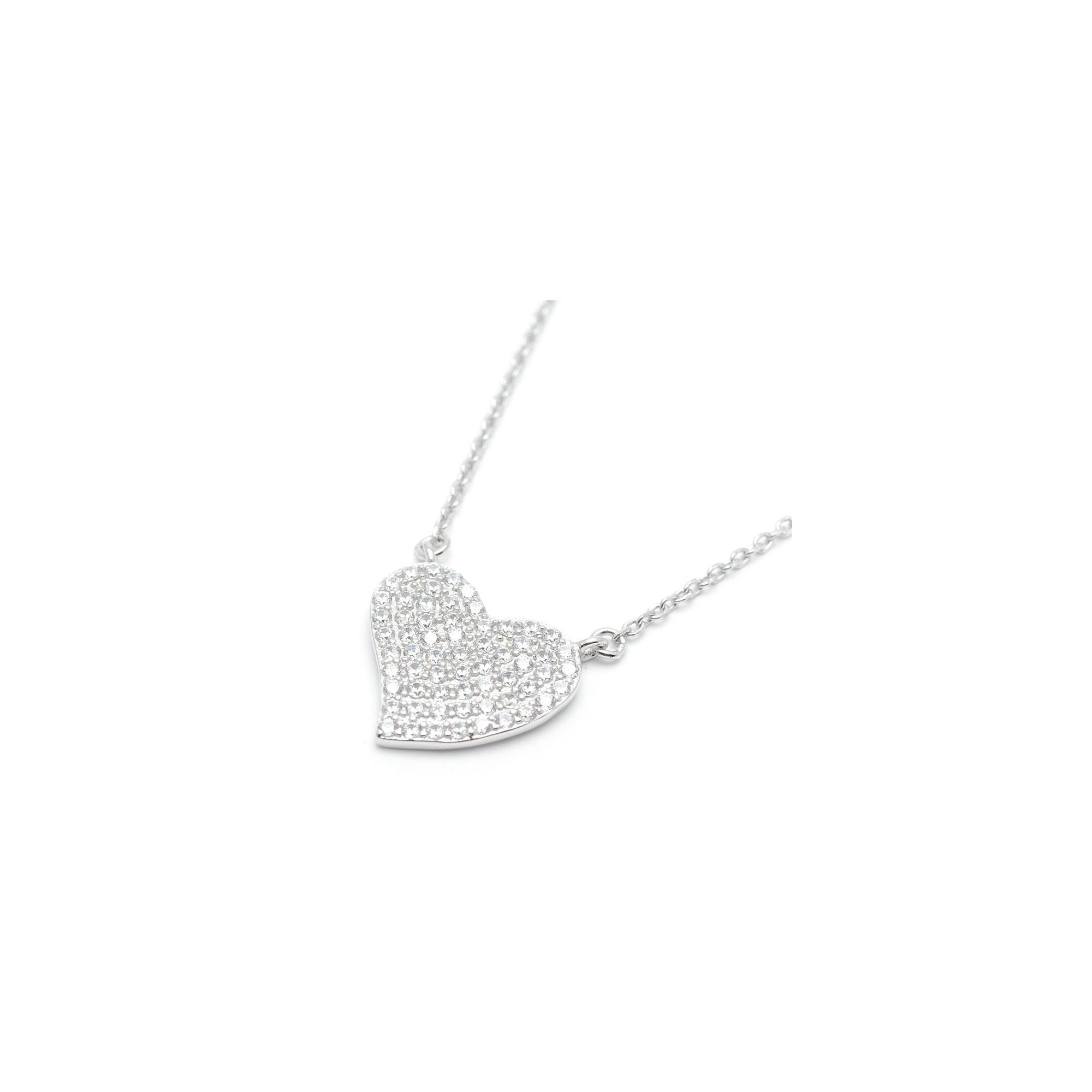 7e72c2bcc044 Colgante Plata Corazón Cristales