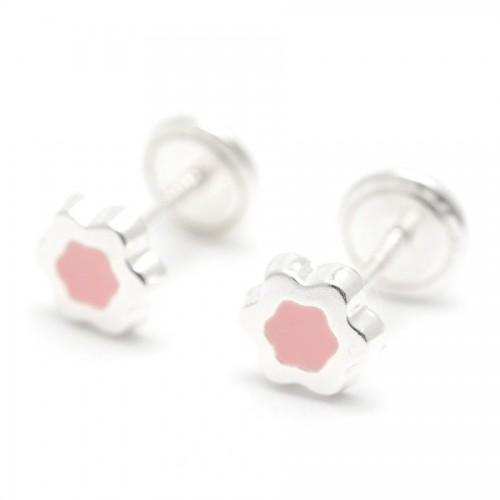 Pendientes Plata Estrella Rosa