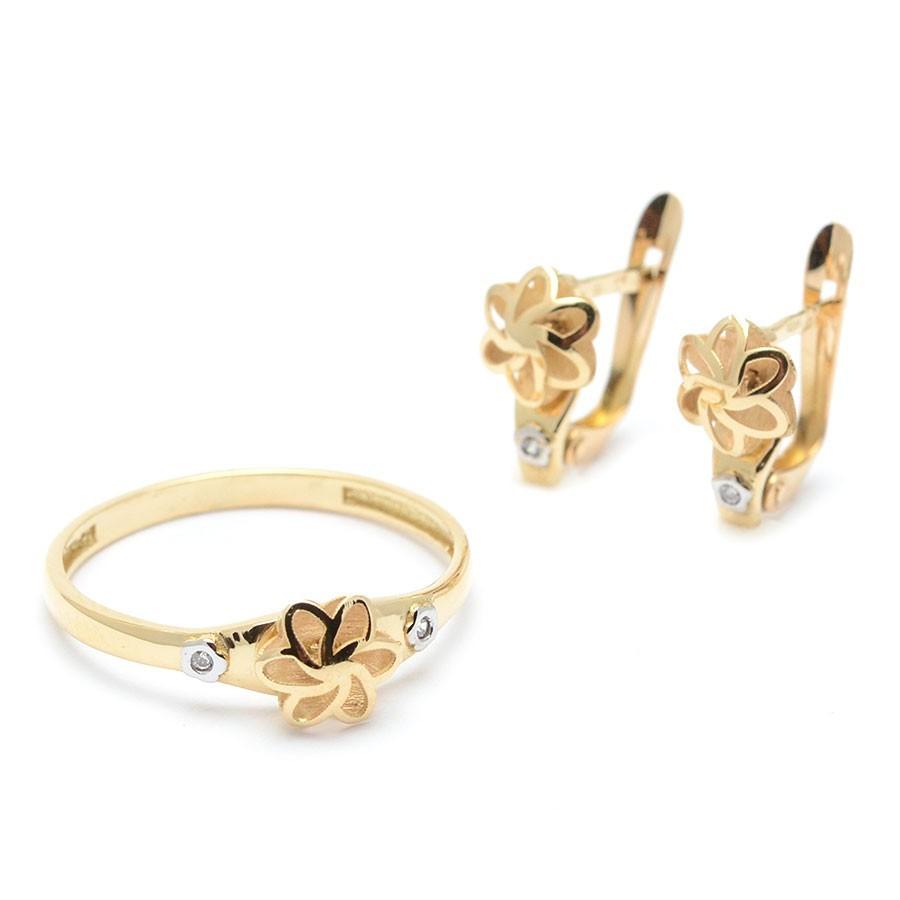 Conjunto Oro Flor Calada