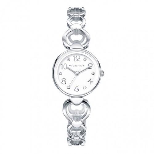 Reloj Viceroy Niña Corazones Blancos Brazalete Acero