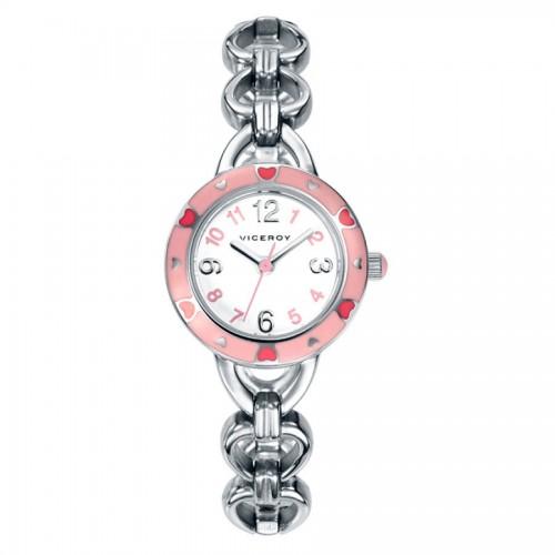 Reloj Viceroy Niña Corazones Rosa Brazalete Acero