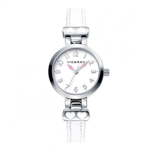 Reloj Viceroy Niña Corazones Correa Blanca