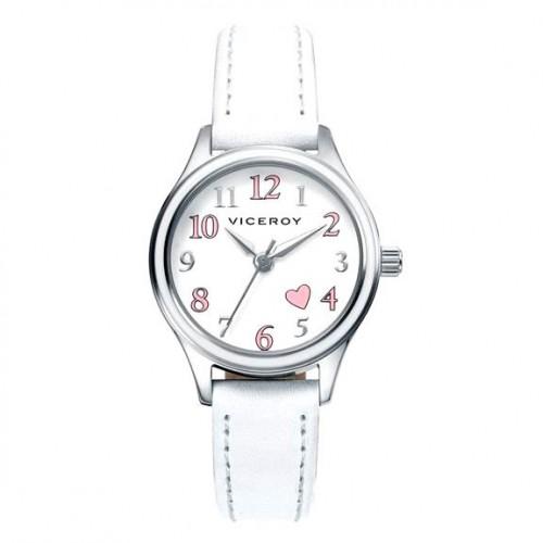 Reloj Viceroy Niña Corazón Rosa Correa Blanca