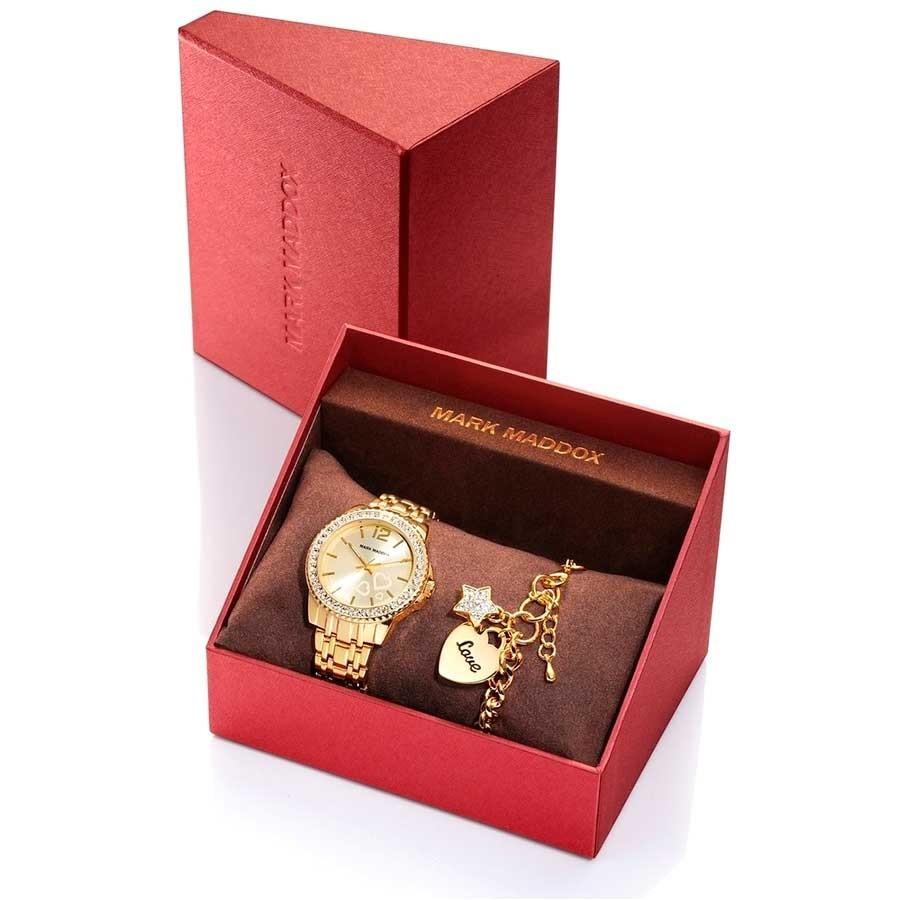 d5d1e46ac6e4 Estuche Mark Maddox Reloj Dorado Pulsera Corazones MM6004-99