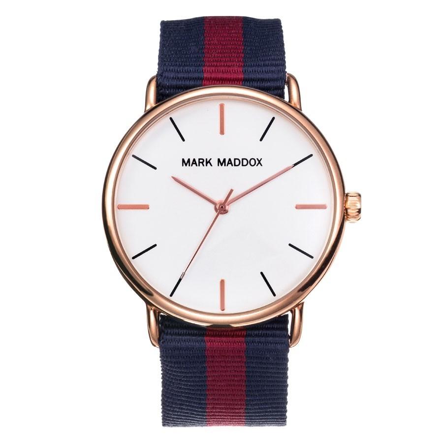 2088476c4 Reloj Chico Mark Maddox Dorado Correa Tela Azul Rojo HC3010-07