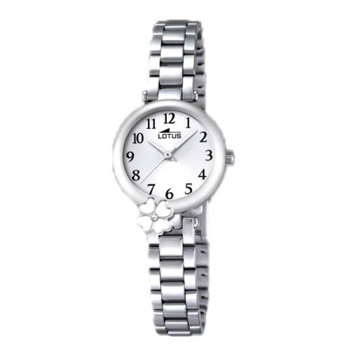Reloj Lotus Brazalete Acero Trébol Blanco