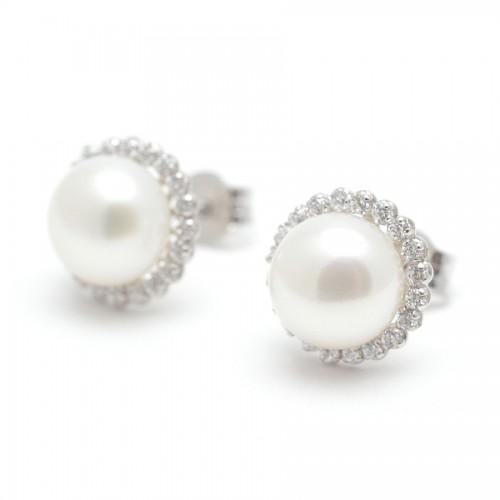 Pendientes Oro Blanco Perla Círculo Circonitas