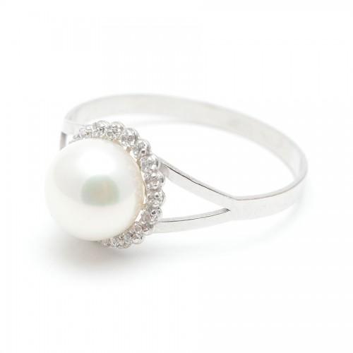 Sortija Oro Blanco Perla Circonitas