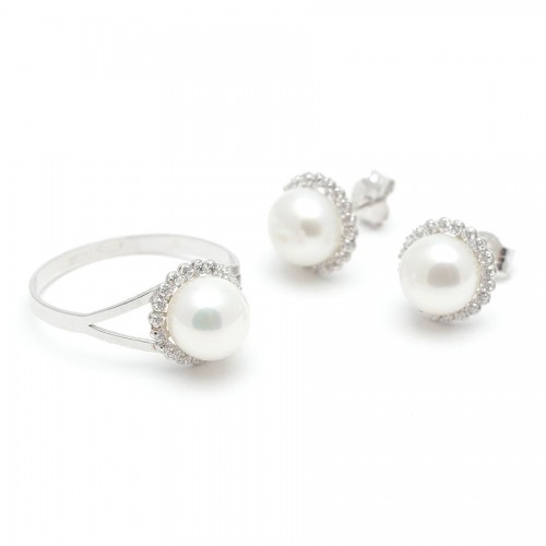 Aderezo Oro Blanco Perla Circonitas