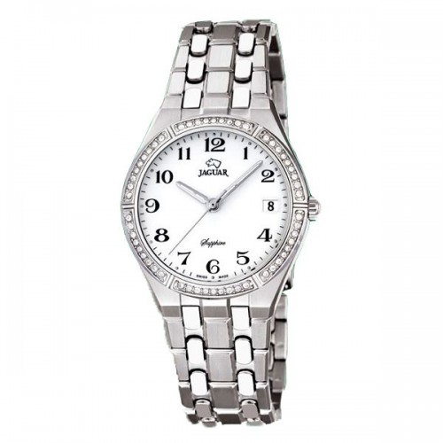 Reloj Jaguar Blanco Cristales Brazalete Acero
