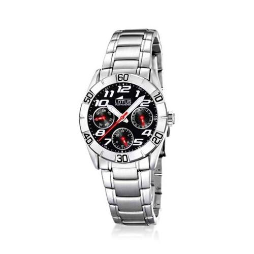 Reloj Lotus Deportivo Negro Rojo Brazalete