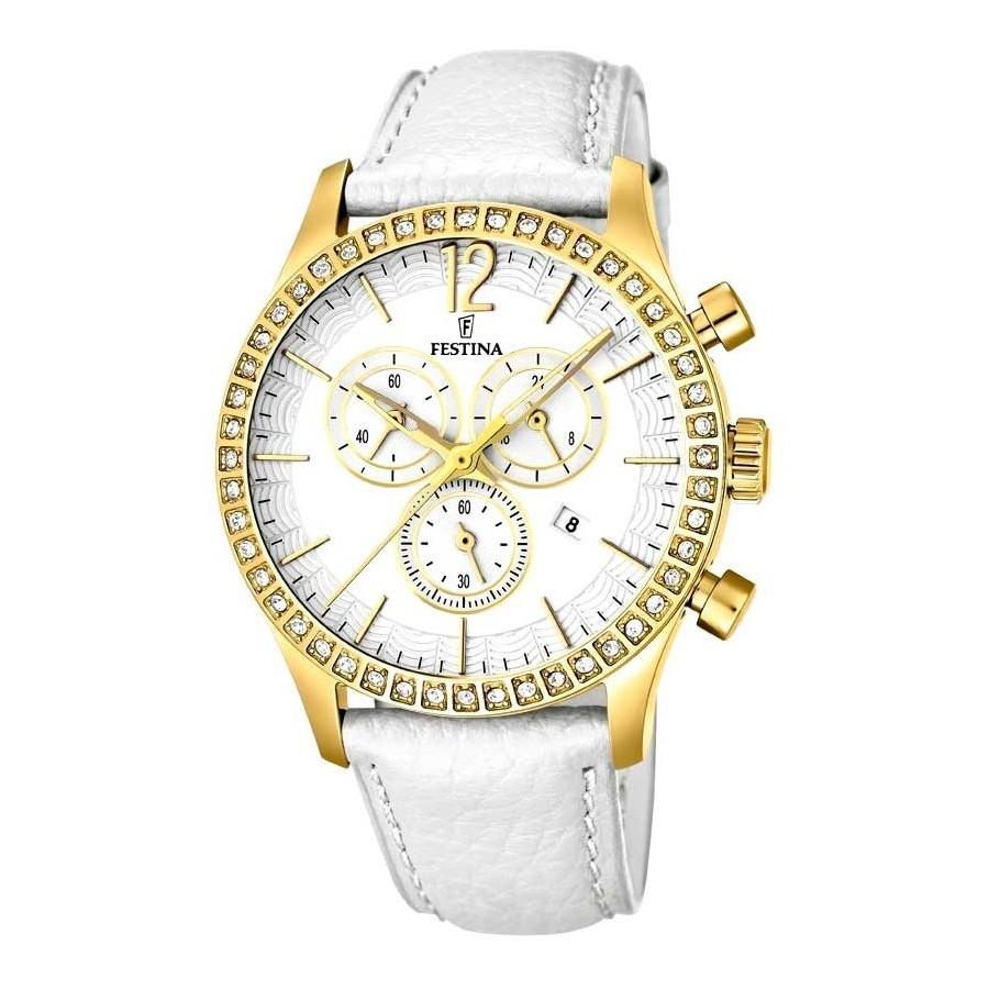 03356fc13732 Reloj Chica Festina Dorado Cristales Deportivo Correa Blanca F16605-1