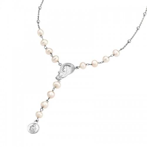 Colgante Plata Perlas Virgen Niña