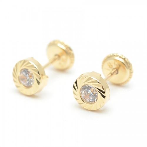 Pendientes Oro Círculo Tallado Circonita