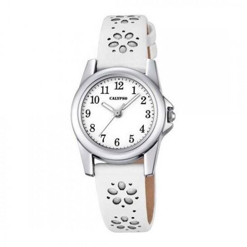 Reloj Calypso Blanco Plateado Correa Flores