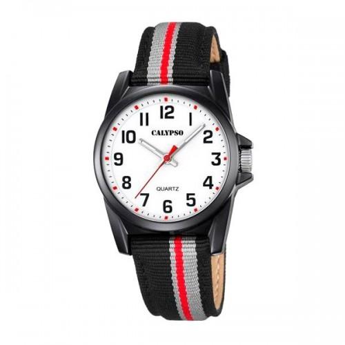 Reloj Calypso Correa Tela Negra Roja