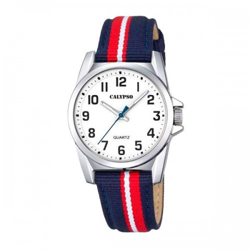 Reloj Calypso Correa Tela Azul Roja