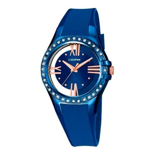 Reloj Calypso Azul Dorado Correa Goma
